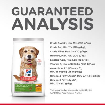 Hills Science Diet Youthful Senior Vitality Small/Toy/Mini Breed Chicken And Rice 7+ Mature/Senior Dry Dog Food 3.16kg (10770)