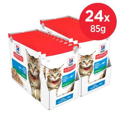 Hills Science Diet Ocean Fish Kitten Pouches Wet Cat Food 85gm x 24