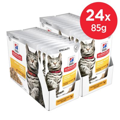 Hills Science Diet Urinary Hairball Control Chicken Adult 1+ Pouches Wet Cat Food 85gm x 24