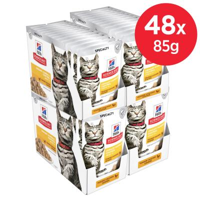 Hills Science Diet Urinary Hairball Control Chicken Adult 1+ Pouches Wet Cat Food 85gm x 48
