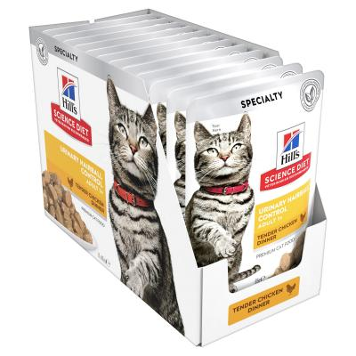 Hills Science Diet Urinary Hairball Control Chicken Adult 1+ Pouches Wet Cat Food 85gm x 12