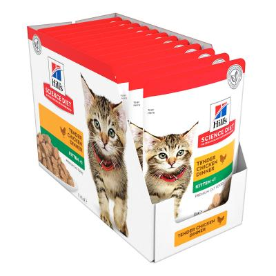 Hills Science Diet Kitten Chicken Dry Food 4kg With Chicken Kitten Wet Pouches 85g x 12