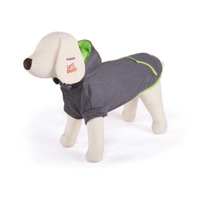Kazoo Active Hoodie Dog Coat Grey / Green Small 40cm