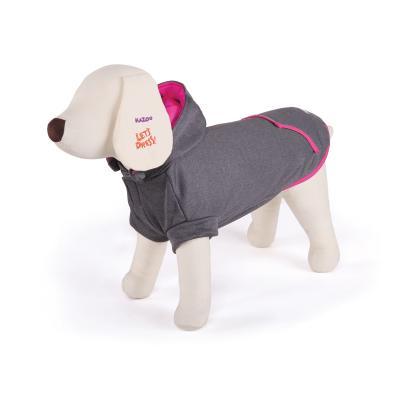 Kazoo Active Hoodie Dog Coat Grey / Pink Medium 46.5cm