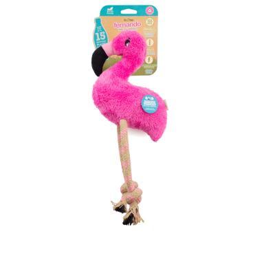 Beco Fernando The Flamingo Eco Friendly Squeak Plush Medium Toy For Dogs