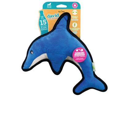 Beco David The Dolphin Eco Friendly Rough And Tough Squeak Plush Medium Toy For Dogs