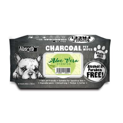 Absorb Plus Charcoal Aloe Vera Pet Grooming Wipes For Dogs 80 Pack