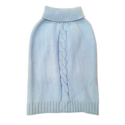 DGG Cable Knit Vest Jumper Dog Coat Baby Blue Large