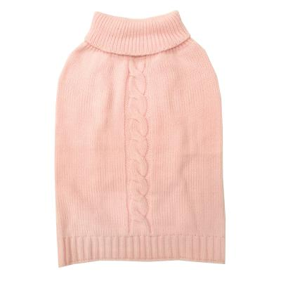 DGG Cable Knit Vest Jumper Dog Coat Baby Pink Medium