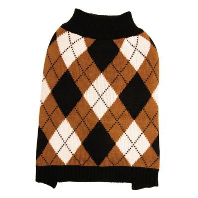 DGG Knit Vest Jumper Dog Coat Black/Caramel Argyle Medium
