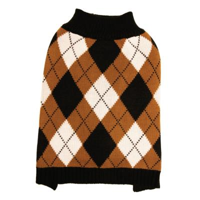 DGG Knit Vest Jumper Dog Coat Black/Caramel Argyle Small