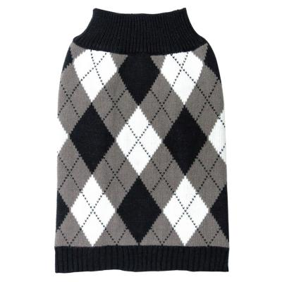 DGG Knit Vest Jumper Dog Coat Black/White Argyle Small