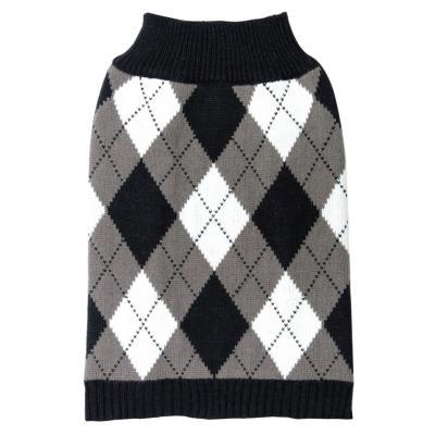 DGG Knit Vest Jumper Dog Coat Black/White Argyle XSmall