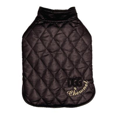 DGG Designer Wrapper Chewnel Quilted Parka Dog Coat Black Medium
