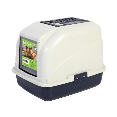 Furkidz Litter Tray High With Removable Hood Charcoal Filter And Scoop For Cats
