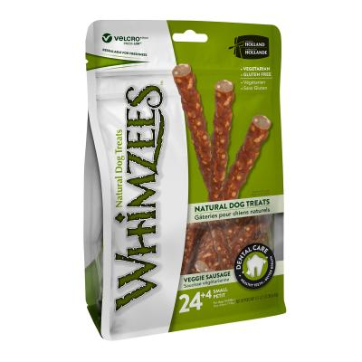 Whimzees Natural Dental Veggie Sausages Small Treats For Dogs 7-12kg 28 Pack 420gm
