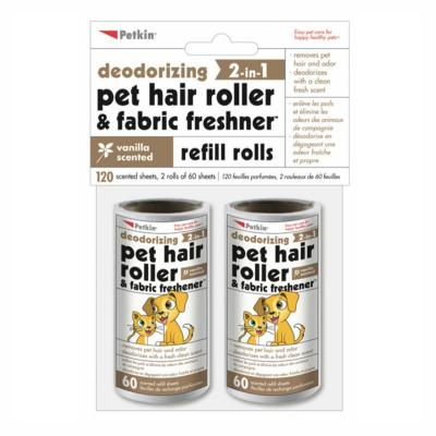 Petkin Refill Rolls For Deodorising Pet Hair Lint Roller And Fabric Freshener Vanilla Scented 120 Sheets