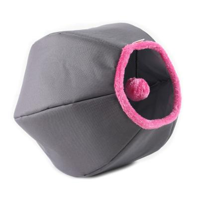 United Pets Cat Cave Play Time Bed Grey With Pink For Cats
