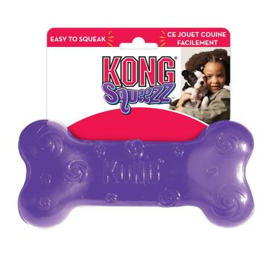 KONG Squeezz Squeak Bone Assorted Colours Large Toy For Dogs