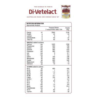 Di-vetelact OriginalDV Low Lactose Animal Milk Replacer And Nutritional Supplement 900gm Divetelact