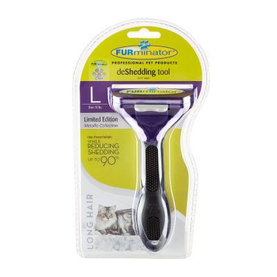 FURminator Deshedding Brush Comb Tool Metallic Purple For Long Hair Large Cats