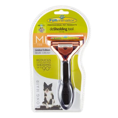 FURminator Deshedding Brush Comb Tool Metallic Rose Gold For Long Hair Medium Dogs