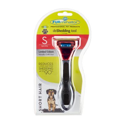 FURminator Deshedding Brush Comb Tool Metallic Red For Short Hair Small Dogs