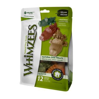 Whimzees Dental Alligator Medium Treat For Dogs 12-18kg 12 Pack 360gm