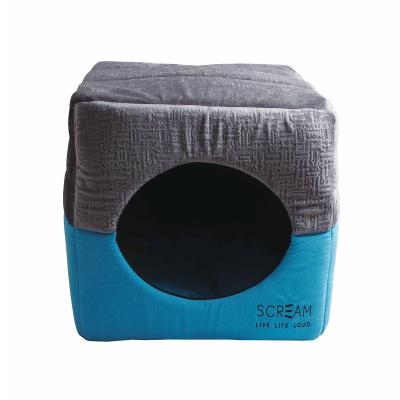Scream Pet Cube Loud Blue Convertible Cushion Basket Bed For Cats And Small Toy Breed Dogs
