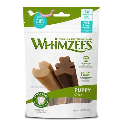Whimzees Puppy Dental Bones Medium To Large Breed Treats For Dogs 14 Pack 210g