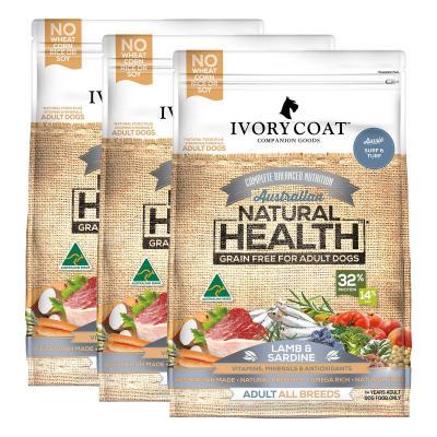Ivory Coat Natural Health Grain Free Lamb And Sardine Adult Dry Dog Food 39kg