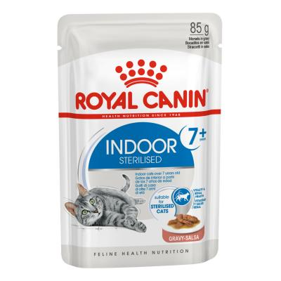Royal Canin Indoor Sterilised Mature/Senior 7+ In Gravy Pouches Wet Cat Food 85g x 12