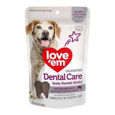 Love Em Dental Care Sticks Grain Free Medium/Large Treats For Dogs 5 Pack 145gm