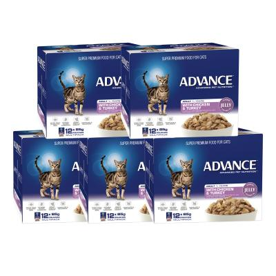 Advance Chicken Turkey In Jelly Adult 1+ Years Pouches Wet Cat Food 85gm x 60