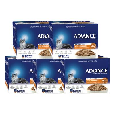 Advance Chicken With Gravy Mature 8+ Years Pouches Wet Cat Food 85gm x 60