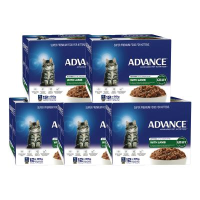 Advance Lamb With Gravy Kitten 2-12 Months Pouches Wet Cat Food 85gm x 60