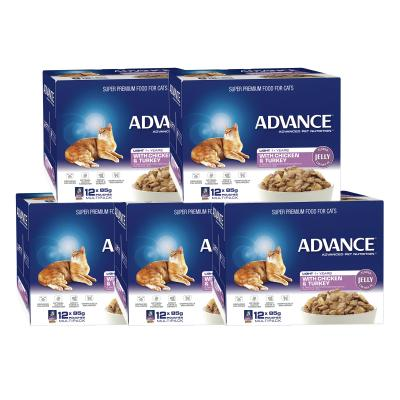 Advance Light Chicken Turkey In Jelly Adult 1+ Years Pouches Wet Cat Food 85gm x 60