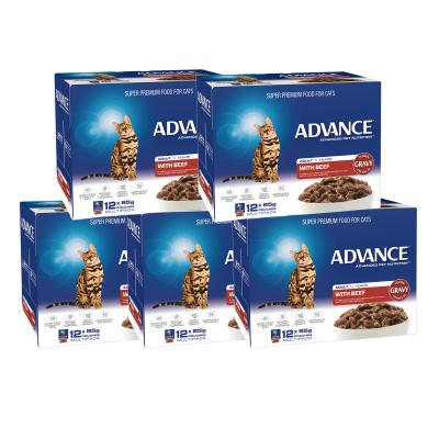 Advance Tender Beef Chunks In Gravy Adult 1+ Years Pouches Wet Cat Food 85gm x 60