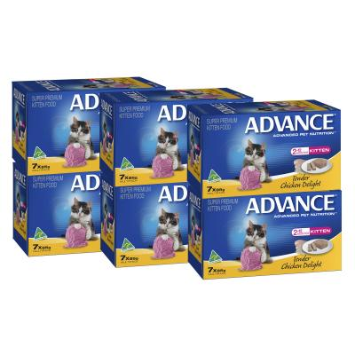 Advance Tender Chicken Kitten 2-12 Months Tray Canned Wet Cat Food 85gm x 42