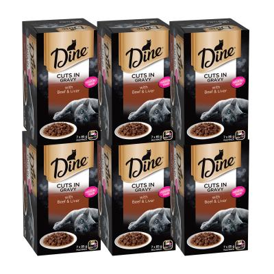 Dine Cuts in Gravy Beef And Liver Adult Canned Tray Wet Cat Food 85gm x 42