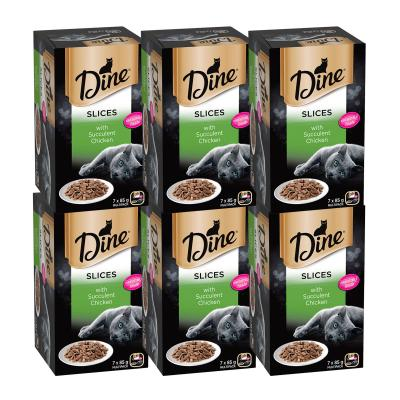 Dine Slices Succulent Chicken Adult Canned Tray Wet Cat Food 85gm x 42