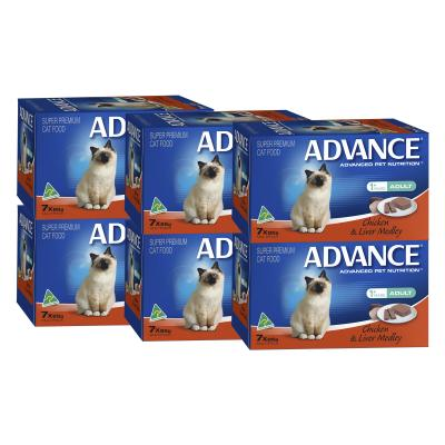 Advance Chicken And Liver Adult 1+ Years Tray Canned Wet Cat Food 85gm x 42