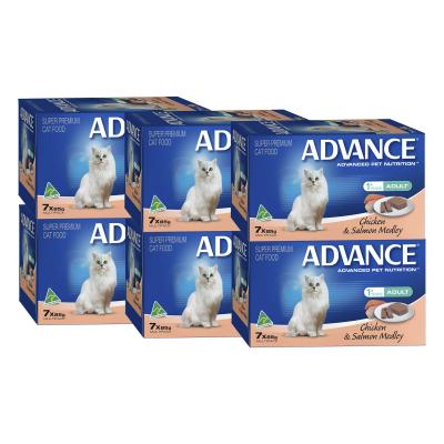 Advance Chicken And Salmon Adult 1+ Years Tray Canned Wet Cat Food 85gm x 42