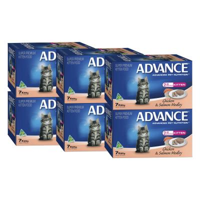 Advance Chicken And Salmon Kitten 2-12 Months Tray Canned Wet Cat Food 85gm x 42