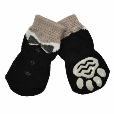 Zeez Non-Slip Knitted Pet Socks Black Tuxedo Medium For Dogs