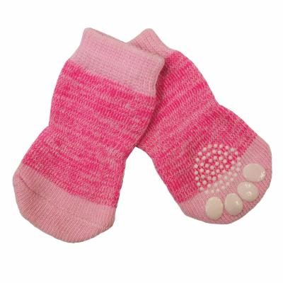 Zeez Non-Slip Knitted Pet Socks Pink Medium For Dogs
