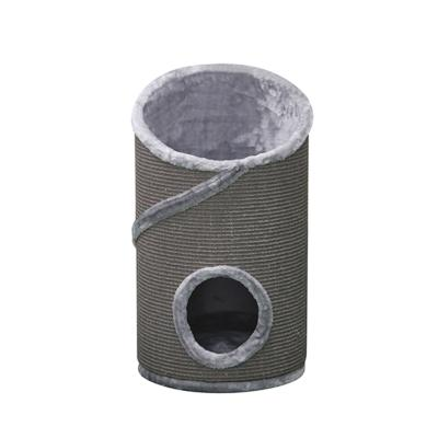 Kazoo Kitty Round Hideaway Den Grey Scratching Post Fun House Toy For Cats