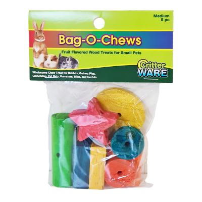 Critter Ware Bag O Chews Flavoured Wooden Blocks Medium Toy For Small Animals 8 Pack