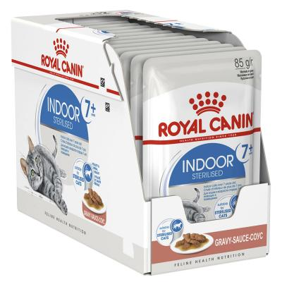 Royal Canin Indoor Sterilised Mature/Senior 7+ In Gravy Pouches Wet Cat Food 12 x 85g