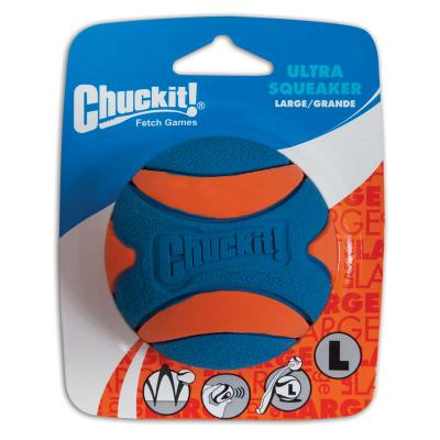 Chuckit Ultra Squeaker Ball Large Fetch Rubber Toy For Dogs 7.5cm 1 Pack